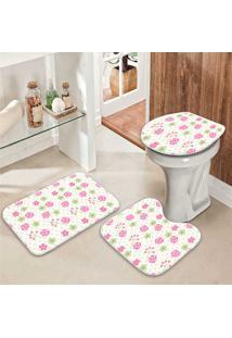 Jogo Tapetes Para Banheiro Flores Do Campo - Único