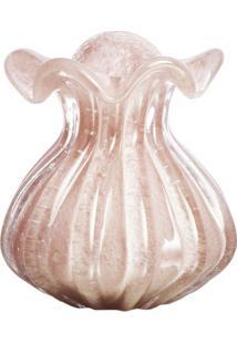 Vaso Texturizado- Incolor & Rosa Claro- 18X17X16Cmcristais São Marcos