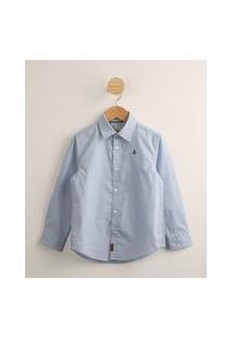 Camisa Infantil Estampada Poá Com Bordado De Âncora Manga Longa Azul Claro