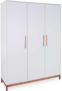 Guarda-Roupa Branco 3 Portas Roupeiro Branco Mdf E Madeira Maciça Design Moderno Moore - 154,6X53X198,5 Cm