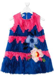 Mi Mi Sol Vestido Com Aplicação Floral - Azul