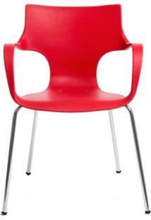 Cadeira Jim Base Fixa Cromado Cor Vermelho - 10313 - Sun House