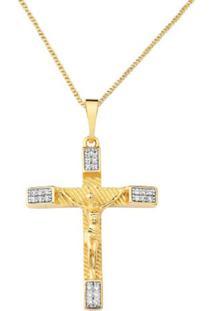 Colar Pingente Crucifixo Jesus Com Cristais Zircônias Banhado A Ouro 18K