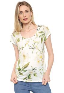 Camiseta Dimy Floral Bege