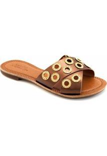 Rasteira Tiras Transpassadas Sapato Show 432 - Feminino-Bronze
