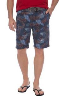 Bermuda Colombo Estampada Masculina - Masculino-Azul Escuro
