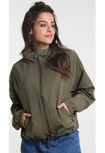 Jaqueta Feminina Cropped Em Nylon Com Bolsos Verde Militar