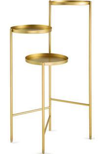 Mesa De Apoio Metalizado- Dourada- 76X52X38Cm- Mmart