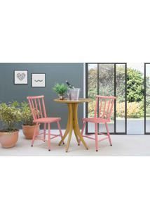 Mesa Redonda E 2 Cadeiras Juliette - Amêndoa E Rosa Coral