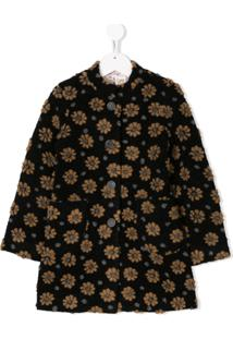 Caffe' D'Orzo Floral Single Breasted Coat - Preto