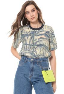 Camiseta Colcci Estampada Amarela/Azul-Marinho