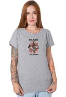 Camiseta No More Fake Friends Cinza Stoned - Tricae