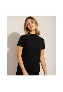 Camiseta Básica Gola Alta Manga Curta Preta