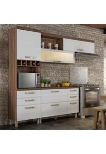Cozinha Completa 3 Peças Com Balcão E Tampo Condessa Nesher Móveis Branco/Madeirado