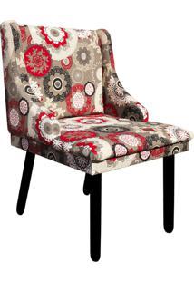 Cadeira Poltrona Decorativa Liz Estampado Floral D32 Pés Tabaco - D'Rossi