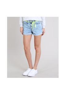 Short Jeans Feminino Mom Com Cadarço Barra Dobrada Azul Claro