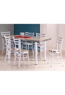 Conjunto De Mesa 1,47M Com 6 Cadeiras - Estrutura Em Aço - Branco/Floral