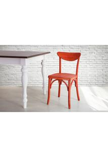 Cadeira De Madeira Estilo Bar Torneada Com Encosto E Assento Anatômico Vermelha Amélie - 44,5X45X81 Cm