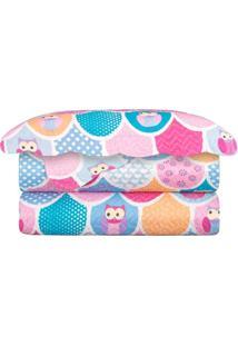 Colcha Matelasse Solteiro Infantil Patchwork Owls Coruja 160X230 Camesa