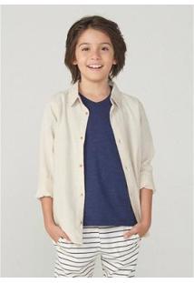 Camisa Infantil Hering Linho Masculina - Masculino-Bege