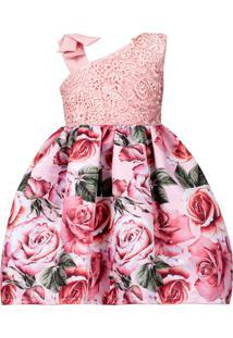 Vestido Infantil Cattai De Renda Com Floral