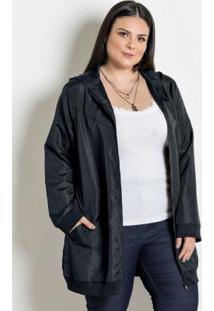 Jaqueta Microtel Alongada Plus Size Preta