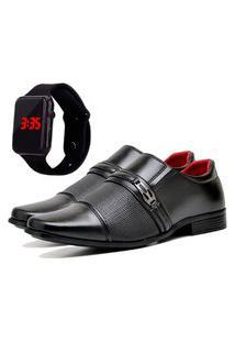 Sapato Social Urbano Com Relógio Led Masculino Dubuy 821Db Preto