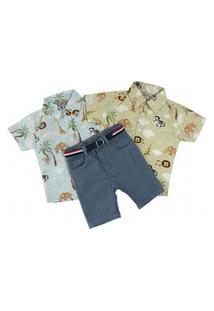 Kit 2 Camisa Safari Curta + Bermuda Sarja C/ Cinto Mabu Denim