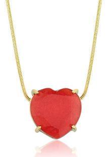 Colar Toque De Joia Coração Pedra Natural Jade Vermelha Ouro Amarelo - Kanui