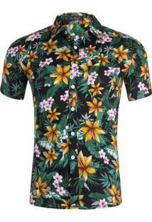 Camisa Estampada Masculina - Floral Preto/Verde/Amarelo M