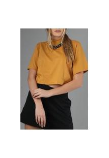 Camiseta Cropped Lulu Mostarda