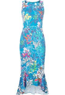 Peter Pilotto Vestido Midi Floral - Azul