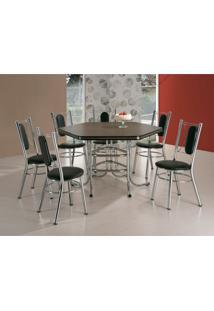 Conjunto De Mesa De Jantar Com 6 Cadeiras Toronto Ameixa Negra E Preto