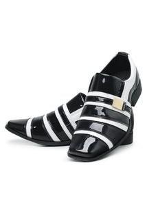 Sapato Social Masculino Verniz Brilhoso Preto/Branco
