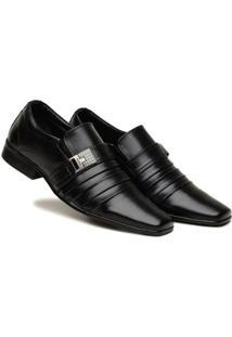 Sapato Social Masculino Elástico Metal Confortável Moderno - Masculino-Preto