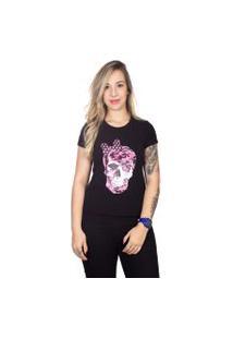 Camiseta 4 Ás Preta Manga Curta Caveira Rosa