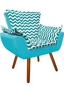 Poltrona Decorativa Opala Suede Composê Estampado Zig Zag Verde Tiffany D78 E Suede Azul Tiffany - D'Rossi