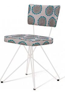 Cadeira Pop Retro Estampa Cerc Base Estrela Branca - 49604 - Sun House