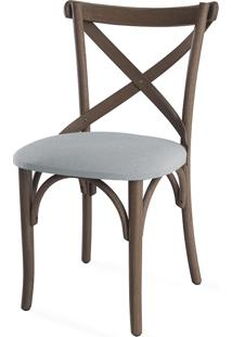 Cadeira X Estofada De Madeira Torneada Com Encosto Anatômico Madeleine - Stain Nogueira - Tec.915 Cinza Claro - 50X54,5X86 Cm