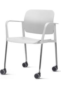 Cadeira Leaf Com Bracos Assento Branco Base Rodizio Cromado - 54262 Sun House