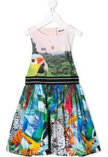 Molo Kids Vestido Com Estampa De Selva - Rosa