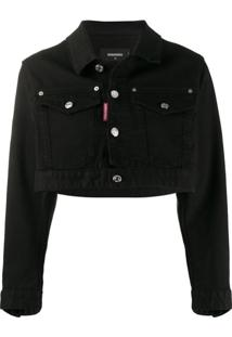 Dsquared2 Jaqueta Jeans Cropped Icon - Preto