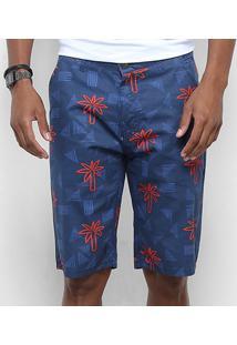 Bermuda Sarja Watkins & Brown Bolso Faca Estampada Masculina - Masculino-Azul