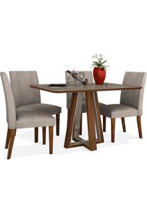 Mesa Vera Com 4 Cadeiras Canela / Off White