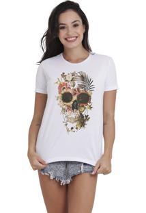 Camiseta Básica Feminina Joss Caveira Pantanal Branca