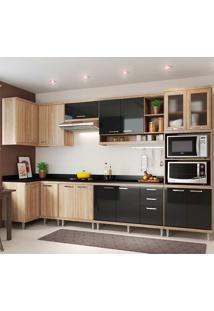 Cozinha Compacta 8 Peças Com Tampo 5831-S15T - Sicília - Multimóveis - Argila / Preto