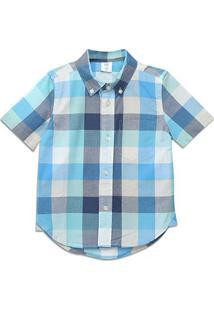 Camisa Infantil Gap Xadrez Manga Curta Masculina - Masculino-Azul