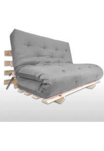 Sofa Cama Casal Futon Oriental Cinza Com Madeira Maciça