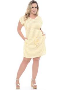 Vestido Listrado Amarelo Plus Size