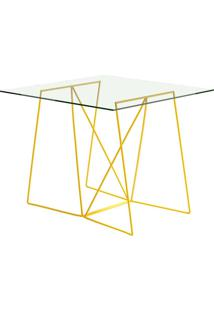 Mesa Quadrada De Vidro 4 Lugares 1538 Amarelo - Carraro Móveis